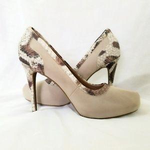 Tan and Animal print Heels